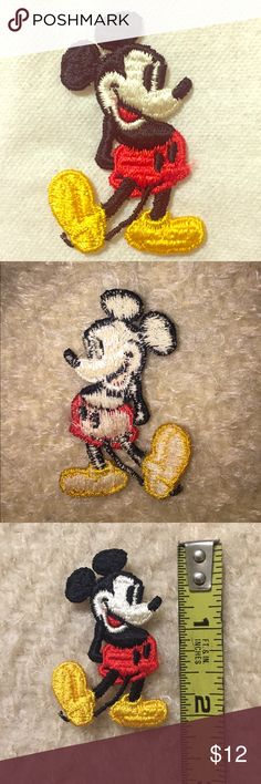 """Vintage 2"""" Mickey Mouse patch Vintage but unused. Disney's Mickey Mouse appliqué. Sew it on your denim jacket, tote bag, or anywhere you want! Four available. This listing is for ONE patch. (If you want to purchase all 4, let me know and I'll make a separate listing for you.) More vintage patches available in my closet. Feel free to add the listing to a bundle, no obligation to buy. I'll send you an exclusive, personalized discounted offer. NO TRADES *last pic for styling ideas only. Disney…"""
