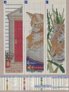 Gráficos em Ponto Cruz: Marcadores de Páginas - Entrada de Cada, gatinho e Tigre