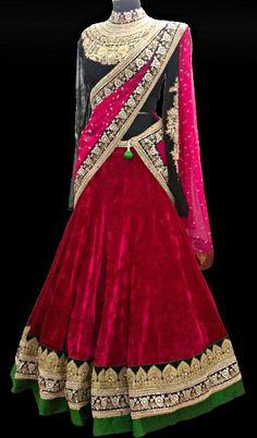 Red Velvet Sabyasachi bridal lehenga with pink duppatta. Indian Bridal Fashion, Indian Bridal Wear, Asian Fashion, Bride Indian, Sabyasachi Lehenga Bridal, Anarkali, Indian Attire, Indian Ethnic Wear, Indian Dresses
