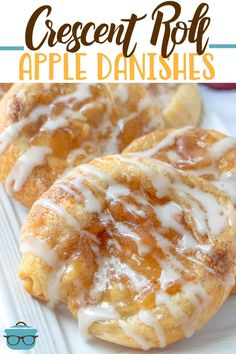 This Crescent Roll Apple Danish recipe is made with crescent rolls and topped with apple pie filling and drizzled with icing. #appledanish #dessert