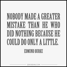 'Nobody made a greater mistake than he who did nothing because he could do only a little.'