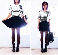 Yinyang Necklace, Oversize Stripes T Shirt, Awesome Pocket Skater Skirt, Studded Backpack, Boots