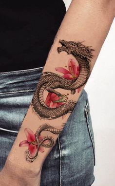 tattoos for women meaningful / tattoos _ tattoos for women _ tattoos for women small _ tattoos for moms with kids _ tattoos for guys _ tattoos for women meaningful _ tattoos with meaning _ tattoos for daughters Dragon Tattoo For Women, Dragon Tattoo Designs, Dragon Hand Tattoo, Thigh Tattoo Designs, Dragon Sleeve Tattoos, Unique Tattoo Designs, Tattoo Sleeves, Back Tattoo Women, Irezumi Tattoos