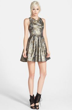 ASTR Embellished Jacquard Fit & Flare Dress | Nordstrom