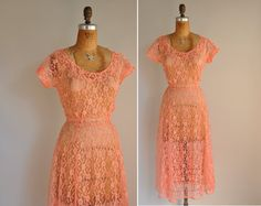 vintage 1950s dress / 50s peach pink lace by simplicityisbliss, $78.00