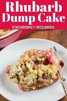 This Rhubarb Dump Cake is a super easy dessert that is amazingly delicious! This Rhubarb Dump Cake is a super easy dessert that is amazingly delicious! More like a crisp than a cake, this dessert is ready for the oven in a matter of minutes. Rhubarb Coffee Cakes, Rhubarb Cobbler, Rhubarb Cake, Rhubarb Crunch, Rhubarb Bread, Banana Bread, Dump Cake Recipes, Baking Recipes, Frosting Recipes