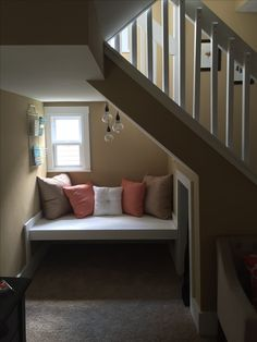 DIY underneath the stairs reading nook