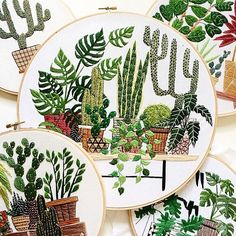 Monday inspiration: These fresh, leafy #embroidery hoops by @sarahkbenning. Be sure to check out her shop at link in profile.