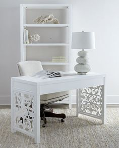 "I would enjoy work so much more with this desk. Or I would lapse into a dream state.  Not sure which.  Guess I'll have to have it to find out. Whatever excuse works?  ""White+Spur""+Office+Furniture+at+Horchow."