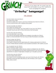 The Grinch Song: Similes & Metaphors | 1st Grade | Pinterest ...