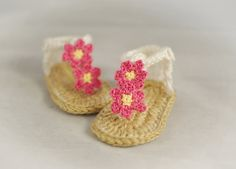 Crochet Baby Sandals with Flower by Adorably Hooked