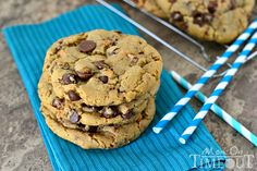 Giant Chewy Brown Butter Toffee Chocolate Chip Cookies-Mom On Timeout
