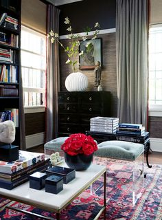 """How to mix Oriental rug with modern furniture furnishings.  Essentially, make sure some color from rug is """"lifted"""" and repeated in room accessories.  The rug colors become the theme colors of the room.   http://www.blulabelbungalow.com/2014/10/modern-decorating-with-oriental-rugs.html"""