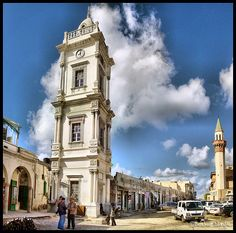 "Borj Essa'aa برج الساعة !  The Clock Tower was built in 1866 by Sultan "" Ali Reda Basha"" During the Ottoman Turks Empire era ...Tripoli-Libya !"