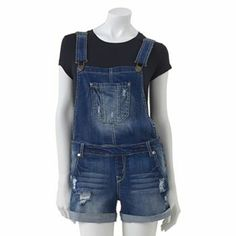 Wallflower Distressed Denim Overall Shorts - Juniors Summer Outfits, Cute Outfits, We Wear, How To Wear, Grunge Fashion, Distressed Denim, Overall Shorts, Passion For Fashion, Style Me