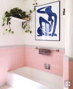 Pink bathroom tiles for the win // rental bathroom, pink bathroom decor, pi Pink Bathroom Tiles, Pink Tiles, Pink Bathrooms, Artwork For Bathroom, Bathroom Canvas, Ikea Bathroom, Bathroom Plants, Grey Tiles, Vintage Bathrooms