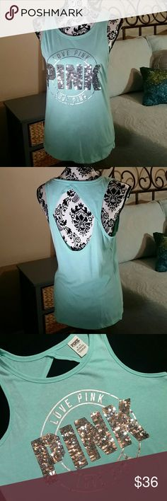 """VICTORIA'S SECRET PINK MINT SEQUIN CUT OUT TANK Victoria's Secret Pink mint colored tank with silver logo and sequin detail. Cut-out in back.  Size XS Armpit to armpit 18"""" Shoulder to hem 25"""" New without tags Victoria's Secret Pink  Tops Tank Tops"""