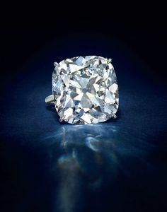 A D color, VS1 clarity cushion-cut Type IIa diamond ring of 43.79 carats.