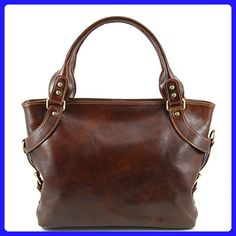 Tuscany Leather Womens [Personalized Initials Embossing] Ilenia Two Compartment Leather Shoulder Bag in Brown - Shoulder bags (*Amazon Partner-Link)