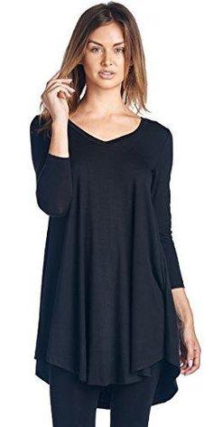 33c2a8c03cd4e Popana Women s Tunic Tops For Leggings - Long Sleeve Vneck Shirt - Regular  and Plus Size - Made in USA Popana Women s Tunic Tops For Leggings - Long  Sleeve ...