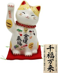Projects For Kids, Art Projects, Lucky Cat Tattoo, Red Cushions, Maneki Neko, Oriental, Japanese Mythology, Pink Painting, Anime Cat