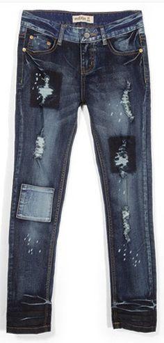 #SheInside Blue Bleached Ripped Patch Slim Denim Pant