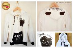 Buso Blanco de Gatos con Orejas  Ref. C.V.008 // $ 132.000  Talla: M