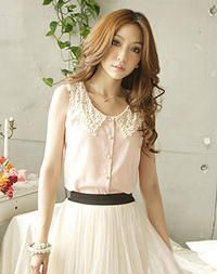 Apricot Sleeveless Cute Girlish Japanese Fashion Shirt with Lace Collar with Pearls