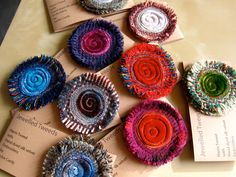 tweed brooches with fringed edges