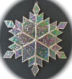 stained glass snowflake suncatcher design 9C by bitsandglassart, $25.00