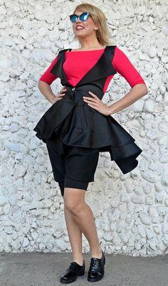 Extravagant Black Satin Cotton Vest TC92, Funky Black Vest with Flounced Long Tail, Black Cotton Vest by Teyxo on Etsy https://www.etsy.com/listing/515885641/extravagant-black-satin-cotton-vest-tc92