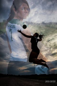 Silhouette Of Girl Spiking the Volleyball With Her Face Composited in the background