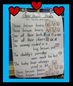 Sing To The Tune of Three Blind Mice.great for Goldilocks And The Three Bears Fairytales And Fiction By 2 Bears Preschool, Preschool Poems, Preschool Music, Preschool Curriculum, Preschool Lessons, Homeschool, Kindergarten First Week, Kindergarten Language Arts, Songs For Toddlers