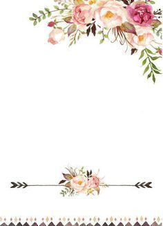 Ideas for wall paper floral printable Invitation Background, Invitation Cards, Wedding Invitations, Borders For Paper, Borders And Frames, Motif Floral, Floral Border, Watercolor Logo, Watercolor Flowers