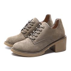 Women Thick Heel Suede Lace Up Casual Commfortable Pumps