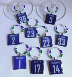 Vancouver Canucks Wine Charm Set want this! Hockey Crafts, I Am Canadian, Vancouver Canucks, Wine Charms, Place Card Holders, Charmed, Fans, Gifts, Handmade