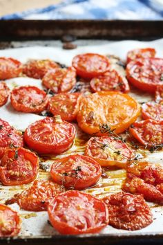 Roasted tomatoes - no prep time and so delicious. You can store these in the freezer and take them out in winter when you need some summer tomato goodness.