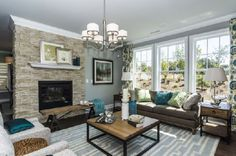 transitional living rooms blue with corner fire place - Google Search
