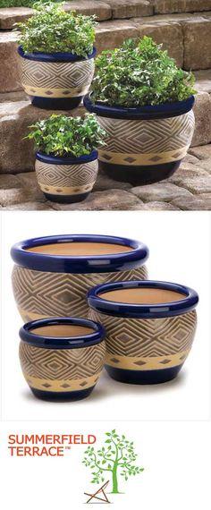 Baskets Pots and Window Boxes 20518: Cobalt Blue Garden Planter Trio Set Of 3 Indoor Outdoor Ceramic Flower Pots -> BUY IT NOW ONLY: $42.31 on eBay!