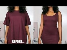 Oversized t-shirt to match the matching strap dress DIY clothing transformations Diy Dress, Tank Dress, Fitted Tshirt Dress, Diy Kleidung Upcycling, Diy Fashion, Fashion Outfits, Diy Outfits, Tomboy Outfits, Trendy Outfits