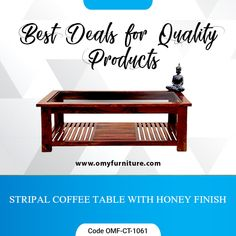 Product URL: STRIPAL COFFEE TABLE WITH HONEY FINISH  Product Code - OMF-CT-1061 Product URL: https://www.omyfurniture.com/stripal-coffee-table-with-hone… …  A stripal coffee table is made by Sheesham(Rosewood )with the Teak finish. It contains transparent glass top and strip panel bottom shelf.   Call Us: +91 900140833, 7627045945  #furniture #cabinet #diningtable #drawer #bookselves