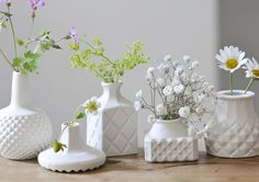 Itzy, Bitzy, Ditzy, Titzy and Pixie mini porcelain vases for mini flowers by Shan Annabelle Valla.