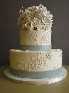 Ariel Yve Design lace wedding cake.  I've never been so enamored with a dessert.