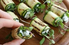 These grilled zucchini rolls with goat cheese would make great party snacks. #MeatlessMonday