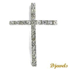 Diamond  Pendant Holy Cross in Hallmarked White Gold<br /> [Rs    55,369]