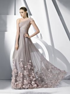 Elegant One Shoulder Couture Evening Gown