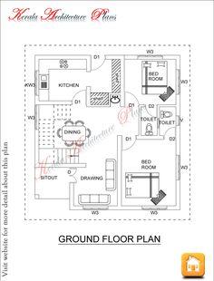 Kerala architecture plans dec 06 ff , 1500 square feet house plan 1200sq Ft House Plans, Square House Plans, Modern House Floor Plans, 4 Bedroom House Plans, Home Design Floor Plans, House Plans One Story, Ranch House Plans, Small House Plans, Floor Design