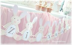 Shabby Chic Bunny Themed 1st Birthday Party with SUCH CUTE IDEAS via Kara's Party Ideas | KarasPartyIdeas.com #BunnyParty #PartyIdeas #Suppl...