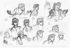 Sketches of Aladdin's various reactions and expressions. Animators use these as a template when creating the characters more intricate movements.