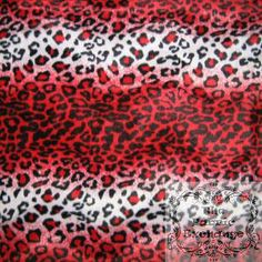 Red and White Leopard Wave Velboa www.thefabricexchange.com